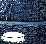 Gartendecke oval 160x220 cm Tischdecke mit Saum abwaschbar Gartentischdecke Balkon Terrasse wetterfest (Blau)