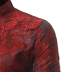 Sliktaa Mens Casual Dress Shirts Steampunk Shirt Long Sleeve Slim Fit Floral Button Down Wing Collar Shirts, S, Wine Red #2