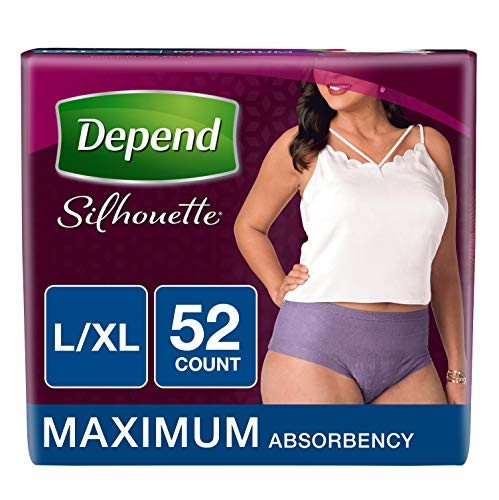 Depend Silhouette Incontinence Underwear for Women, Maximum Absorbency, Disposable, L/XL, Purple, 52 Count