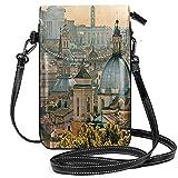 Monedero pequeño para teléfono celular, vista de Roma desde Castel SantAngelo Italia histórico Monedero Vaticano