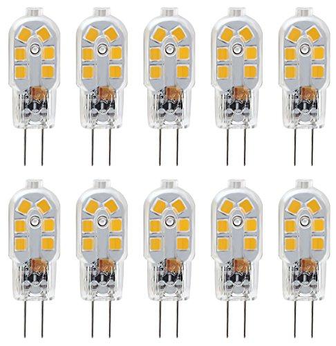 KINDEEP Lampadina LED G4, Led G4-2W/200LM - Bianco Caldo 3000K, equivalente a 20W Lampada Alogena, DC/AC 12V, Trasparenti, Confezione da 10