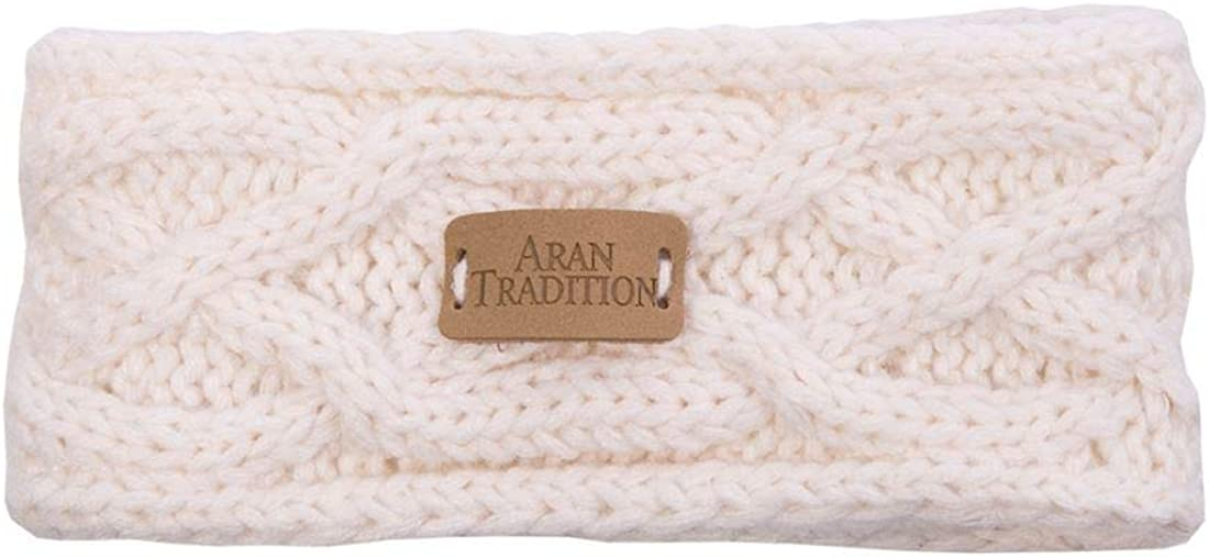 Kids Aran Knitted Traditional Cable Pattern Headband, Cream Colour