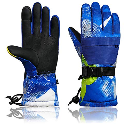 Momoon Ski Gloves, Waterproof Gloves, PU Touch Screen Winter Gloves for Boys, Girls, Men, Women