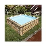 Gre 790000 790000-Piscina de madera cuadrada SUNBAY 225 x 225 x 68 cm, con filtro de arena 2 m3/h cartucho