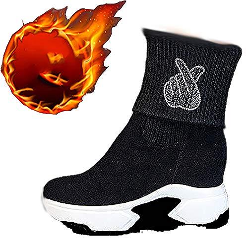 Loykind Damen Damen-Turnschuh-Trainer, Kurze Stiefel Mit Velvet Wärme Im Winter Plattform Martin Boots-Socken-Runners Bequeme Geschwindigkeit Knit Gym Schuhe,Heart,38
