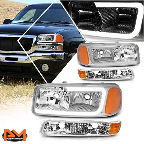 LED DRL Bumper Headlight Assembly Compatible with GMC Sierra/Yukon XL 99-07 Headlamps with Chrome Housing Amber Corner