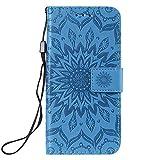 Dfly-US Étui portefeuille à rabat en cuir pour Nokia 7.1 Motif Mandala Bleu