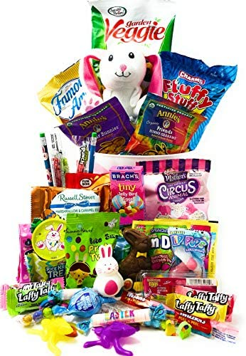Spring Easter Candy Snacks Chocolates Care Package Basket 50 Piece Assortment Gift for Boys product image