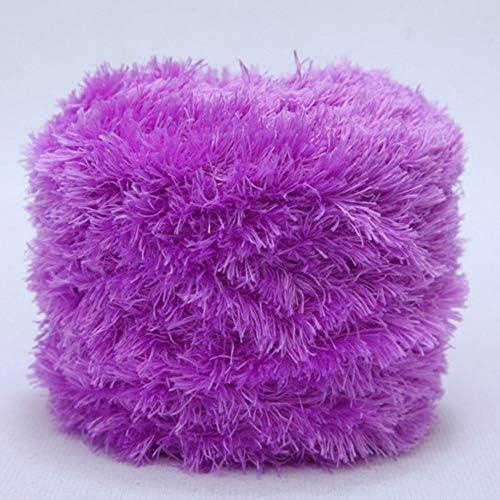 400g DIY Knitting Plush Yarn Furry Eyelash Yarn Crochet Sweater Scarf Doll Yarn Grape Purple product image