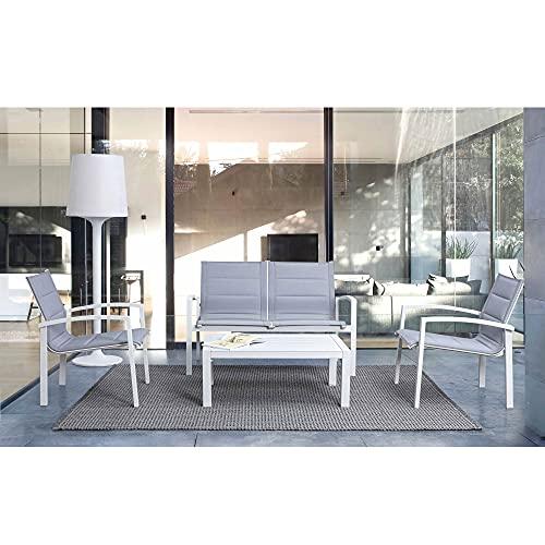 Andrea Bizzotto Salotto in Alluminio e Textilene Colore Bianco e Grigio Divano 2 Posti 2 Poltrone Tavolino Modello Laiken