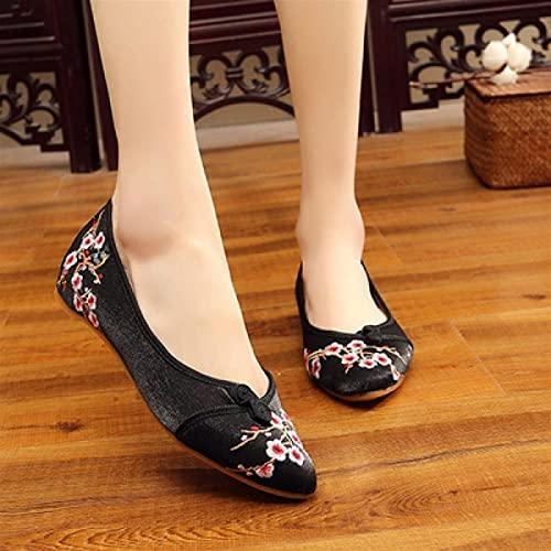 Shability Zapatos Bordados para Mujeres Bordado Lindo Y Cómodo De Las Mujeres Zapatos Planos Antideslizantes Livianos Y Livianos. yangain (Color : A, Size : 6)
