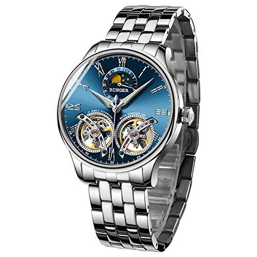 B BINGER Men's Automatic Mechanical Wrist Watch with Dual Balance Wheels Movement (Silver Blue)