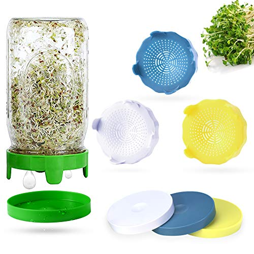 Sprouting Lids, 4 Pack Sprout lids for Wide Mouth Mason Jars, Easy Rinse and Drain Plastic Sprouting Kits with 4 Pack Water Trays for Growing Bean Sprouts, Broccoli, Alfalfa, Salad Sprouts