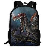 XCNGG Spinosaurus Vs Indominus Rex Dinosaurier Schlachtschultasche Teenager Casual Sports Rucksack Männer Frauen Student Travel Wandern Laptop Rucksack