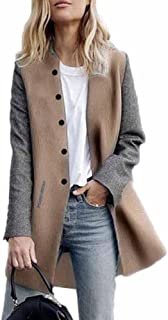 Womens Trench Coats Ladies Warm Wool Button Raglan Long Blazer Jackets Cardigan Overcoat Outwear