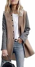 Photno Womens Trench Coats Ladies Warm Wool Button Raglan Long Blazer Jackets Cardigan Overcoat Outwear