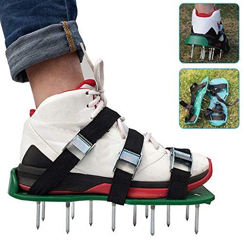 FRUSDE - Zapatos aireadores de césped, sandalias de aireador de césped, resistente escarificador de césped, aireador de césped, con 6 correas ajustables, herramienta de aflojamiento del suelo