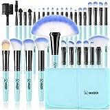 brochas de maquillaje,Vander- Juego de 32 brochas de maquillaje profesionales, base sintética, polvos, correctores, brochas de belleza con bolsa de viaje para cosméticos, azul