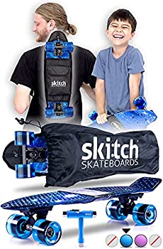 SKITCH Complete Skateboards Gift Set for Beginners Boys Girls and Kids of All Ages with 22 Inch Mini Cruiser Board + All Accessories  Blue Galaxy