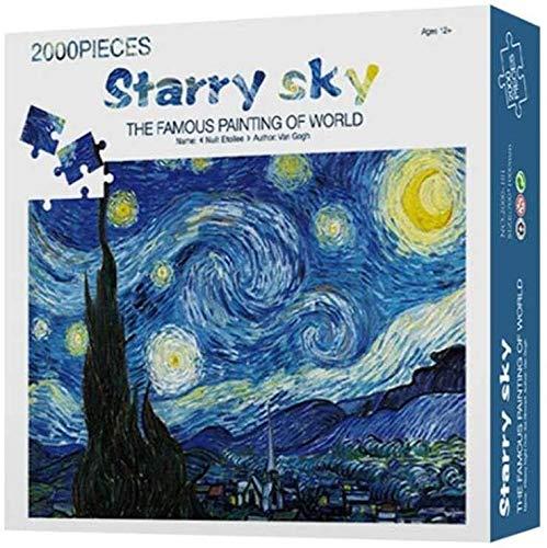 Clásico juego de puzzle rompecabezas de papel del rompecabezas for adultos 2000 Pieza petróleo difícil famoso cuadro La noche estrellada de Vincent van Gogh rompecabezas de juguete Juego robusta y fác