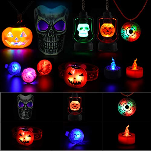 Bloranda 22PCs Halloween Party Light Up Toy Set Glow in The Dark Party Supplies for Kids Party Favors Including Skull Hanging Lights Flash Finger Ring Pumpkin Necklace Watch Candle Light