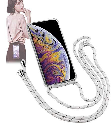 Yayago - Collana per telefono cellulare con cordoncino e custodia per Apple iPhone XS Max - con cordoncino a tracolla - collare Necklace - in bianco alla moda, pratica e accattivante