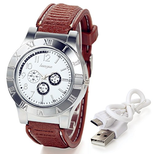 lancardo Novelty Digital USB Encendedor de Cigarrillos Hombres Relojes con 3subdiales, Resistente al Viento Llama más Ligero (Plata)