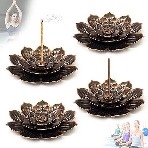 4 PCS Brass Lotus Incense Burner,Lotus Sticks Incense Burner,Brass Lotus Incense Sticks Holder for...