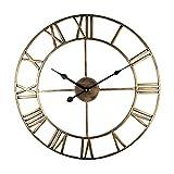Reloj de pared 3D grande, reloj de metal en estilo vintage, 30 cm, silencioso, reloj de pared de hierro para casa, salón, cocina, dormitorio (dorado)
