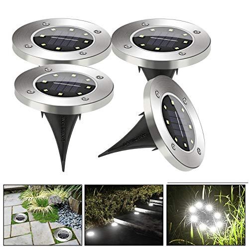 DAMIGRAM 4 Pezzi Luce Sepolta Solare, 8 LEDs Impermeabile Lampada Solare da Terra da Giardino Esterno Faretti Solari a LED da Esterno IP65 Impermeabile per Esterno,Scala,Paesaggio,Strade (White)