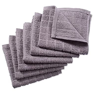 DII Cotton Terry Windowpane Dish Cloths, 12 x 12 Set of 6, Machine Washable and Ultra Absorbent Kitchen Bar Towels-Solid Gray
