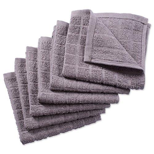 DII 100% algodón, se Puede Lavar a máquina, Ultra Absorbente, Basic Everyday 30,5x 30,5cm Paños de Cocina Plato de Rizo, Windowpane Unidades, diseño de 6- Berenjena, Paño, Gris Liso,
