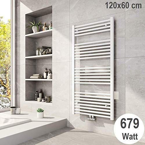 Meykoers Badheizkörper 1200x600mm Mittelanschluss 679 Watt Weiß, Handtuchtrockner Handtuchwärmer Design Heizkörper für Bad Heizung Radiator