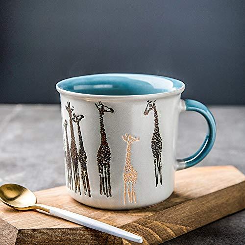 L-entcy Taza de café con diseño de jirafa con mango de cerámica, taza de cerámica, taza de cerámica para parejas de dibujos animados taza taza taza taza de café taza de té 400 ml