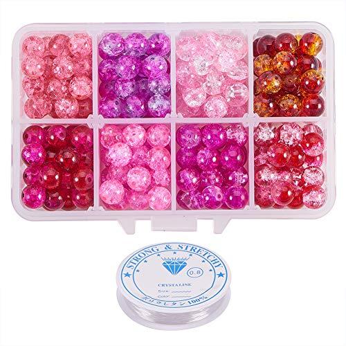 PandaHall Circa 240pz 8 Colori Rosa Serie 8mm Rotonda Verniciato Spray Crackle Perline di Vetro Assortimento Lotto con Filo Elastico di Cristallo per Braccialetti collane Gioielli(0.8mm, 5m / Rotolo)