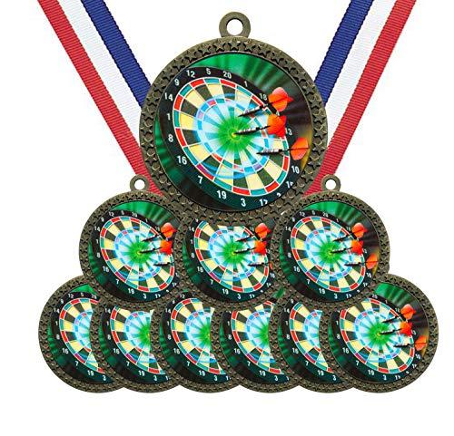 Große 5,7 cm Durchmesser Metall Antik Gold Darts Bullseye Medaillen Star Award Trophäe Champion Gewinner mit rot-weißen und blauen Halsbändern (10 Stück)