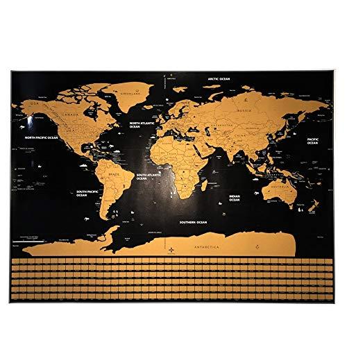WSF-CARTE, 1pc Gold gratter la carte du monde,...