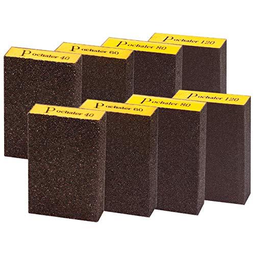 Sanding Sponge,Coarse & Fine Sanding Blocks in 40/60/80/120 Grit for Brush Pots, Polishing Wood and Metal,Washable and Reusable.(8 Pcs