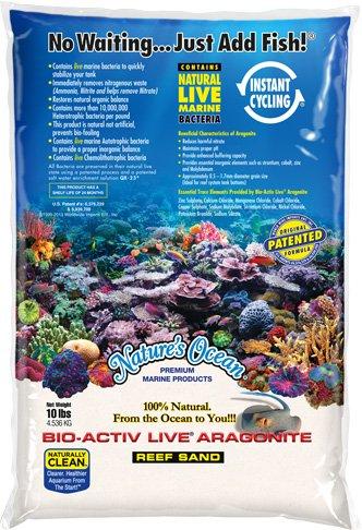 Nature's Ocean BIO-ACTIV Live Aragonite 20 LB Natural White Reef Aquarium Sand #0