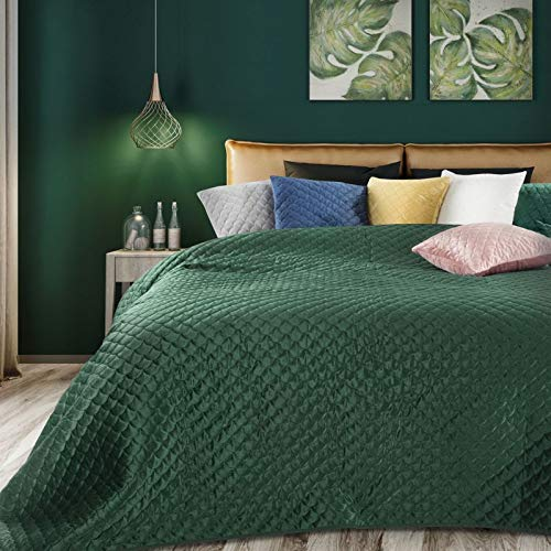 Eurofirany Weiche Tagesdecke Ariel Gesteppter Bettüberwurf Steppung Art Deco Muster Ganzjährig Samt Einfarbige Steppdecke Quilt (Dunkelgrün, 220 x 240 cm)