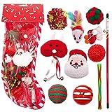 yuesen giocattoli per gatti, set di giocattoli kitten,gioco gatto interattivo accessori con palline sonagli bacchetta topi pesce gatti regalo calza di natale per gattino 10 pcs