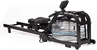 Water Rowing Machine Sturdy Steel Frame Rower with Water Resistance Adjustable LCD Monitor for Calories Burned Sports Exer...