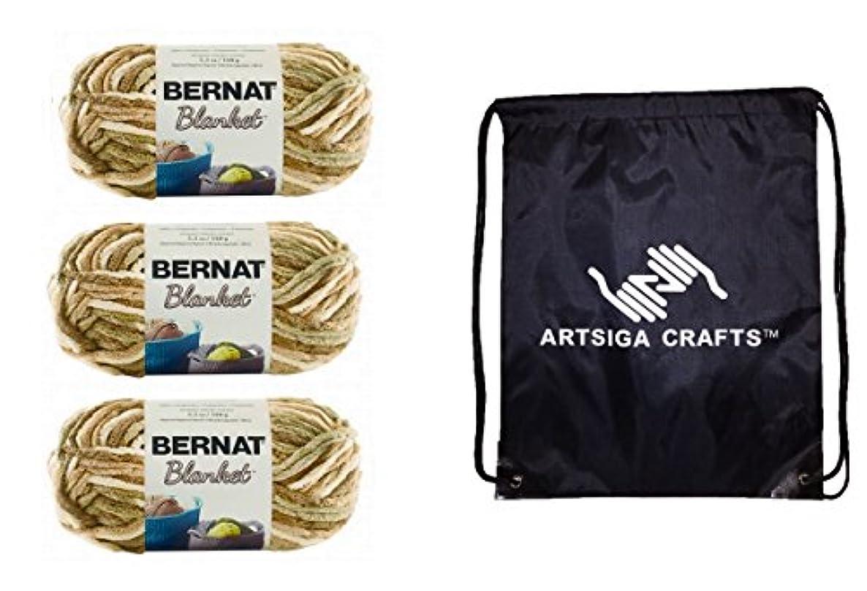 Bernat Blanket Yarn (3-Pack) Sonoma 161200-00018 Bundle with 1 Artsiga Crafts Project Bag