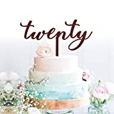 GrantParty twenty Rose Gold Cake Topper | 20th Birthday Anniversary Wedding Party Decoration Ideas| Perfect Keepsake (20 Rose Gold)
