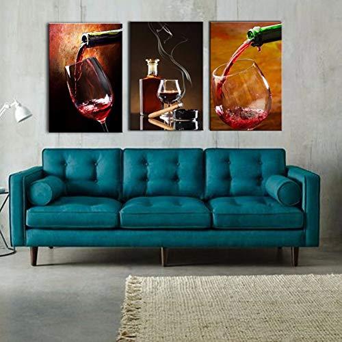 RHBNVR canvas schilderij 3 stuks stilleven canvas schilderij rode wijn beker muurschilderij print op canvas voor bar restaurant keuken decoratie (zonder lijst)