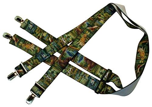 Jäger-Hosenträger | Jagd-Motiv | Tiere, Hase, Ente, Jäger, Hund, Wildschwein | Damen und Herren | One Size 120 cm | Anzug-Hosenträger | Arbeitskleidung-Hosenträger | Teichmann
