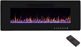 "R.W.FLAME 50"" Electric Fireplace, Recessed Wall Mounted and in-Wall Fireplace Heater, Fit for 2 x 6 Stud,Remote Control with Timer, Touch Screen, Adjustable Flame Colors and Speed, 750/1500W"
