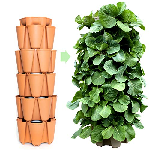 GreenStalk Patented Large 5 Tier Vertical Garden Planter with Patented Internal Watering System Great for Growing a Variety of Strawberries, Vegetables, Herbs, & Flowers (Classic Terracotta)
