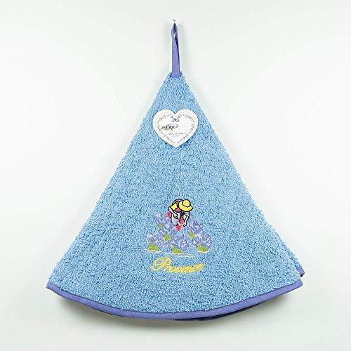 Torchon Essuie Mains Lavandière - Rond avec Attache - Bleu - Motifs Brodés - 100% Coton - Ø 65 cm de diamètre - Cuisine ou Salle de Bain