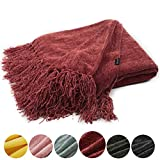 EverGrace Christmas Fluffy Cozy Chenille Throw Blanket with Decorative Fringe 60 x 50 Luxury Tassel Throw Blanket for Couch Sofa Chair Bed Office Home Décor Red